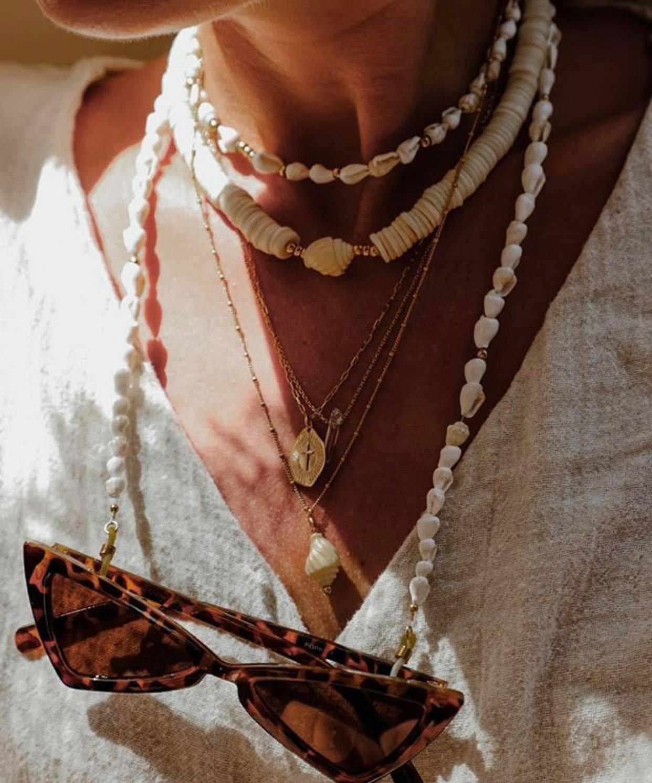 Collares Arrow mx de color blanco con cuentas y conchas marinas, cadena para gafas