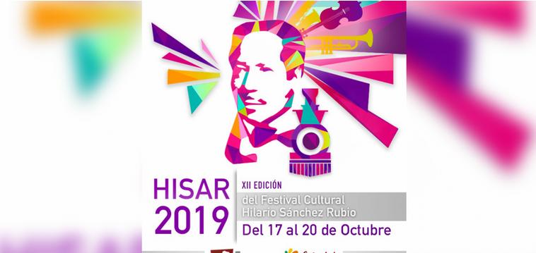 """Imagen de Hilario Sanchez realizada con colores como morado, rosa, amarillo, azul, naranja y al rededor de su cabeza diferentes instrumentos.  En la parte de abajo del lado izquierdo """"HISAR 2019"""" en letras grandes color moradas."""