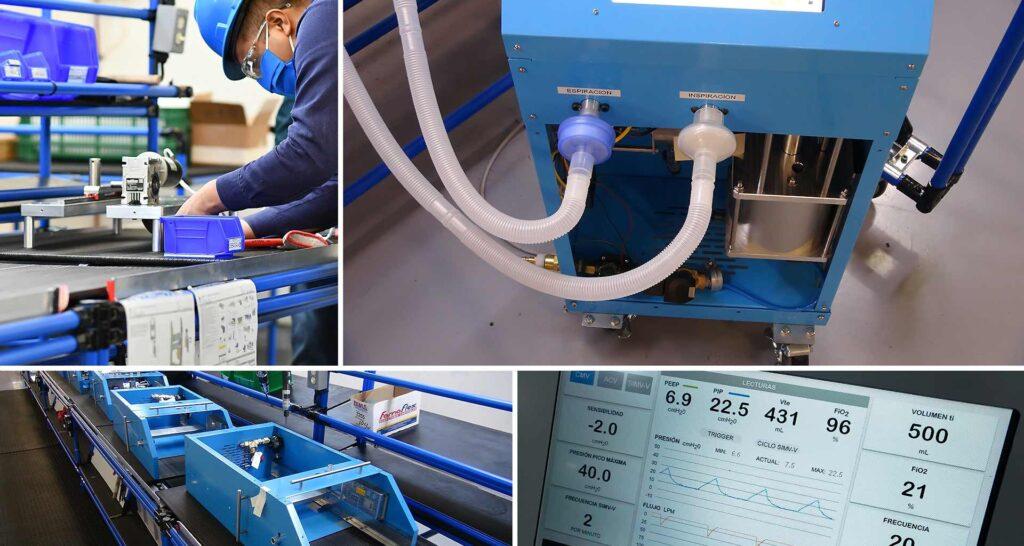 Collage de cuatro imagenes: la primera de arriba es una persona con camisa, cubrebocas y casco color azul trabajando en una maquina. Del lado derecho es una maquina de color azul de donde salen dos mangueras. Abajo se ve el proceso de creación de una maquina color azul y del lado derecho una pantalla con números y gráficos.