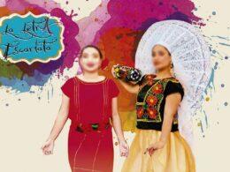 cartel de difusion de evento; dos mujeres con trajes tripicos de colores