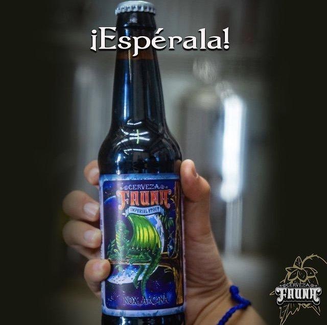Mano con cerveza con etiqueta color azul, en la parte de abajo dice Nox arcana con letras azules