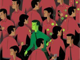 ilustración de personas que están juntas alrededor de una perosna contagiada de covid 19