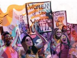 Ilustracion de diferentes tipos de mujeres con pancartas de colores morado, combinado con naranja, rosa fuerte, azul, rojo y rosa palido.