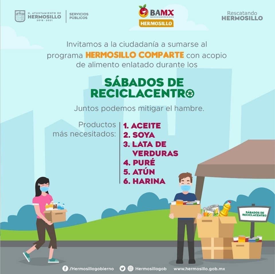 Infografia de los sábados de reciclacentro en donde aparecen una pareja con cubrebocas donando y ayudando a recolectar los alimentos