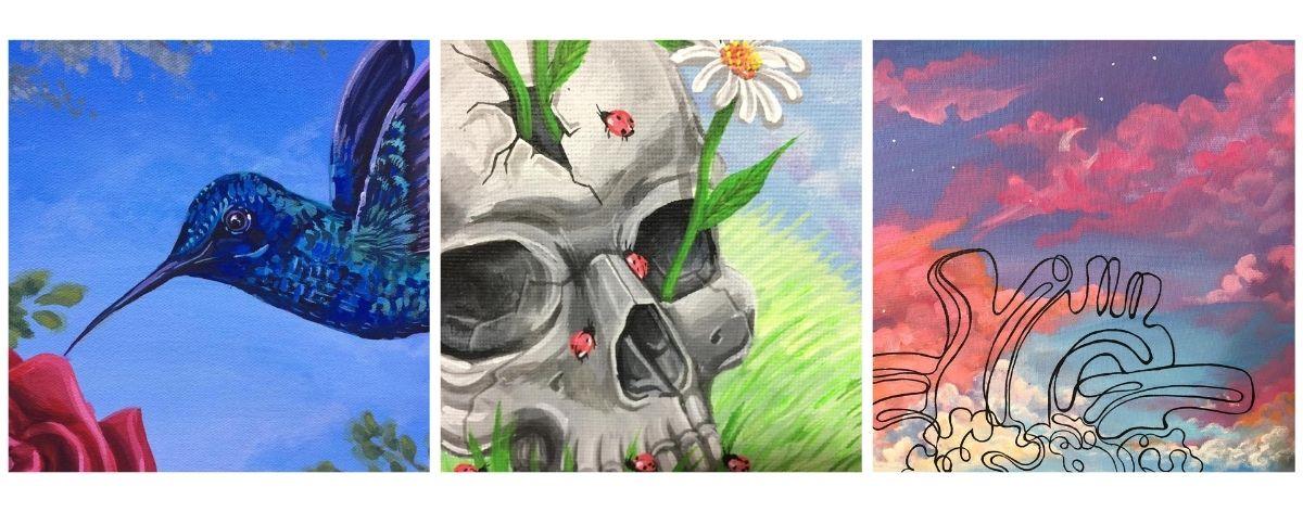 Pinturas de Misue; colibrí azul picando una flor, cráneo con flores y parte de las válvulas de un corazón y de fondo el cielo rosado