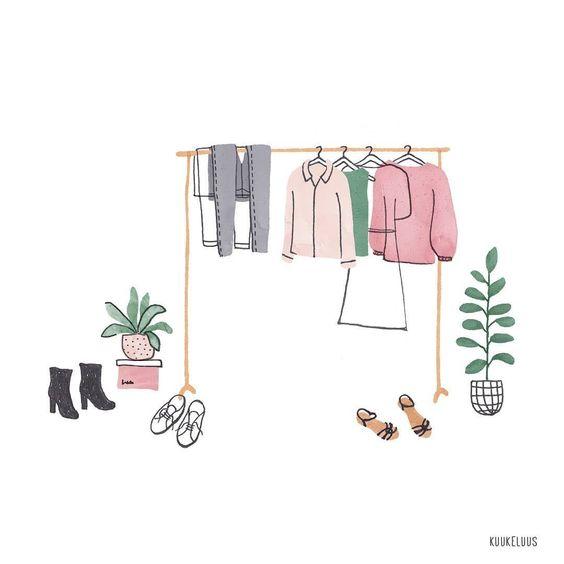 Ilustración de rack con piezas de ropa colgadas