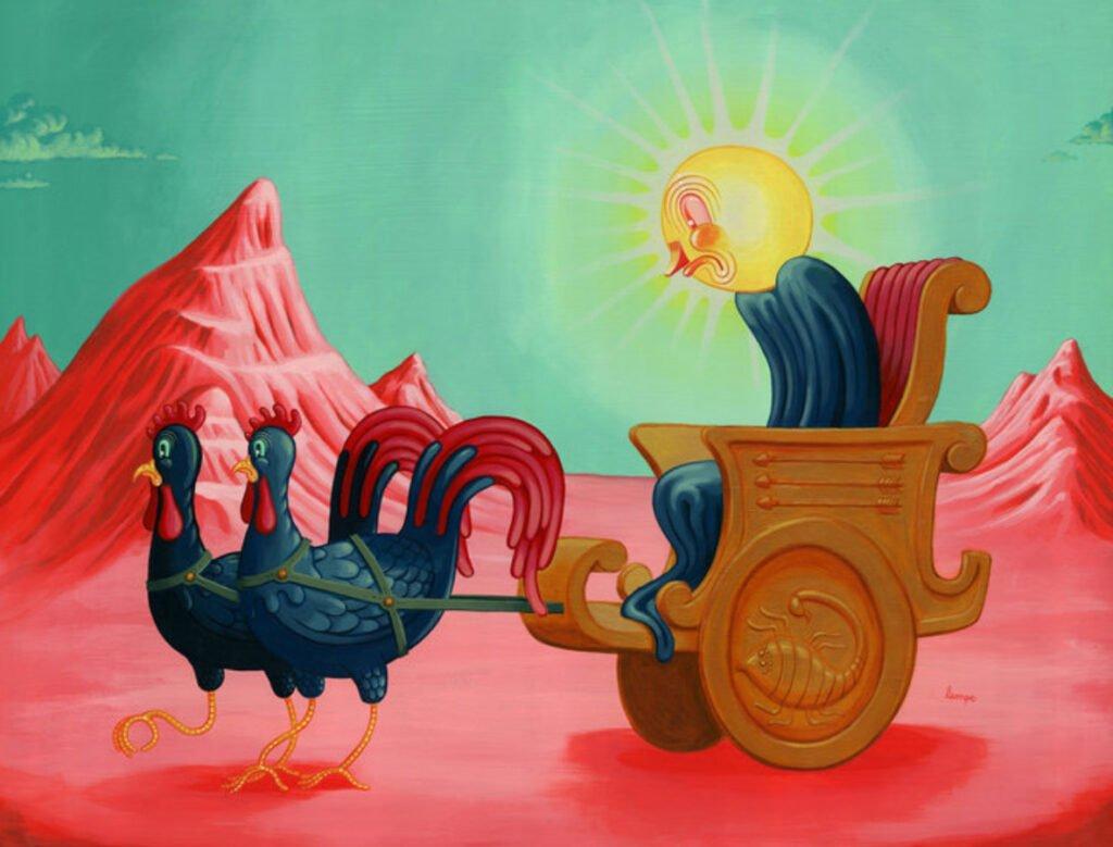 Un cuerpo con cabeza en forma de sol color amarillo brillante, sentado en una silla color cafe claro, en la parte de izquierda se encuentran dos pavos color negro-verde con cola y cresta color roja