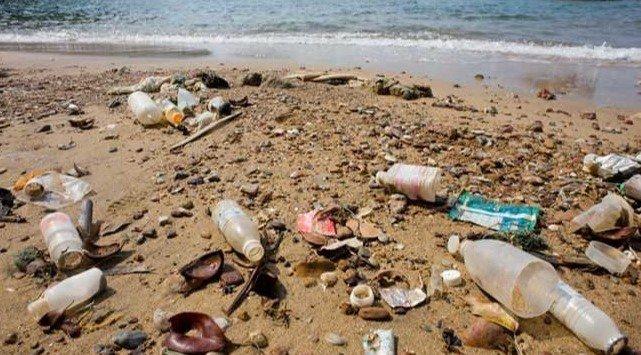 Botellas de plástico, latas, envolturas y más en la arena de la playa de Sonora. Basura generada por turistas