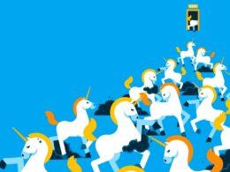 ilustración de unicornios subiendo a la cima