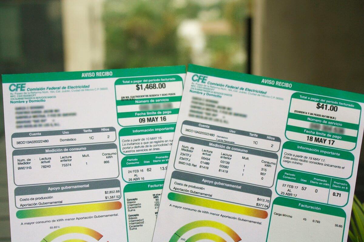 """Foto de facturas emitidas por la """"CFE"""""""