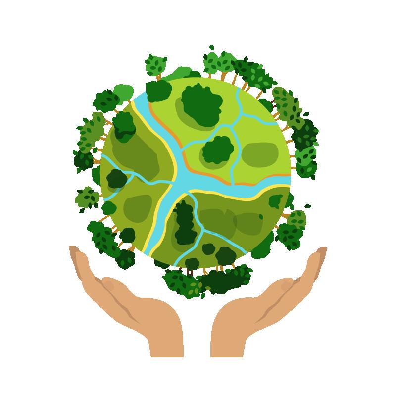 Ilustración de dos manos sosteniendo el planeta tierra