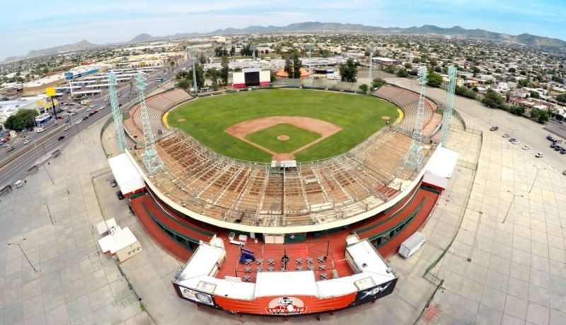 Vista aérea del Estadio Héctor Espino que recibió inversión del Gobierno Federal para su remodelación