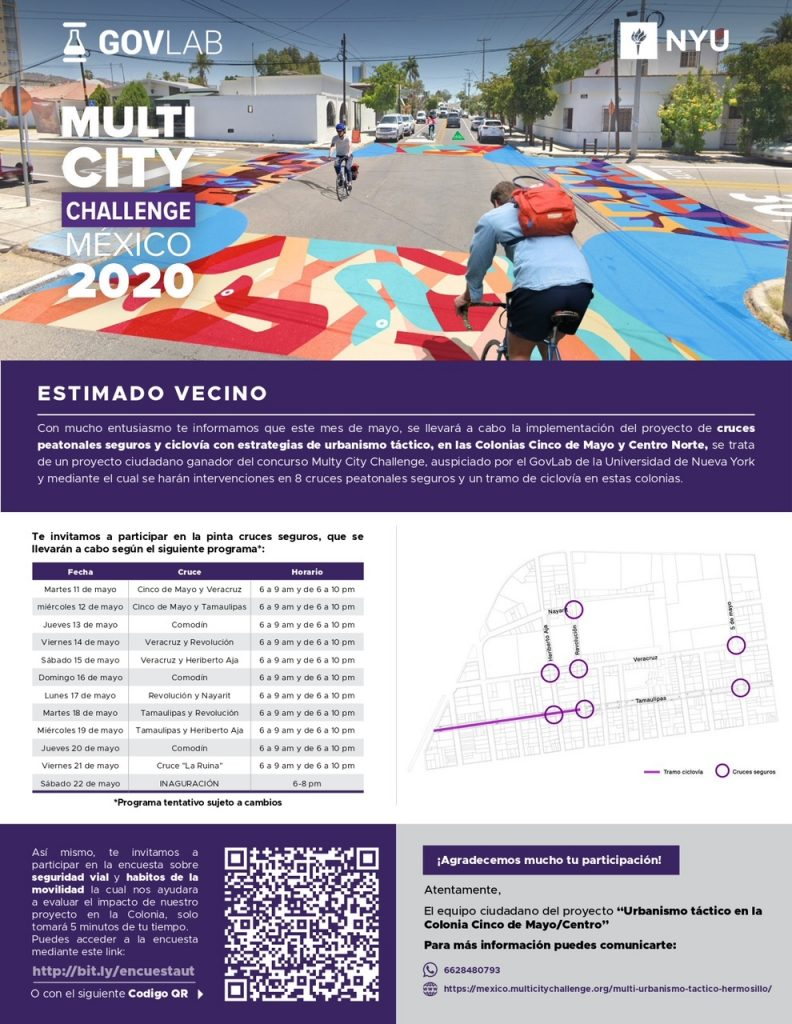 """Programa de Multi-City Challenge """"Urbanismo Táctico"""" cruces peatonales en Hermosillo"""