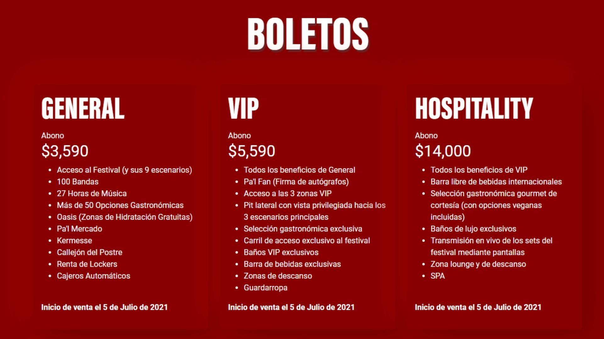 precio de boletos para Tecate Pa'l NORTE