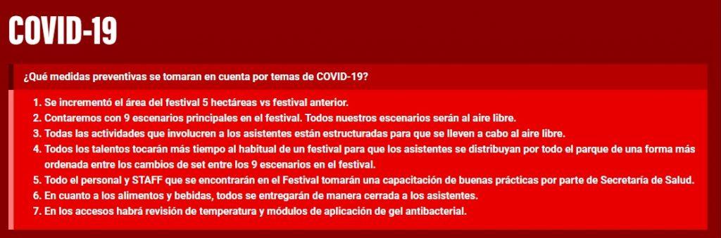 Medidas de seguridad del Festival Tecate Pa'l Norte ante la pandemia por COVID-19.