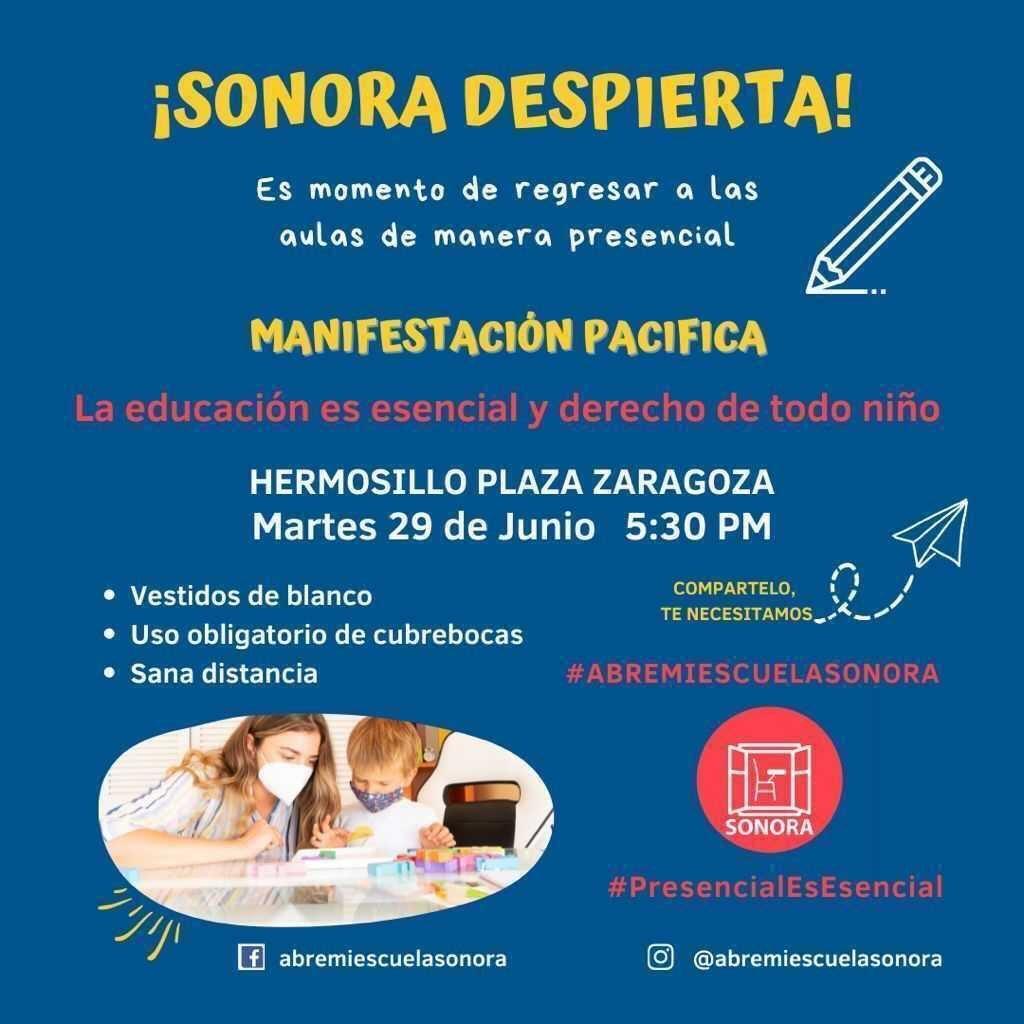 Flyer de manifestación Abre Mi Escuela Sonora