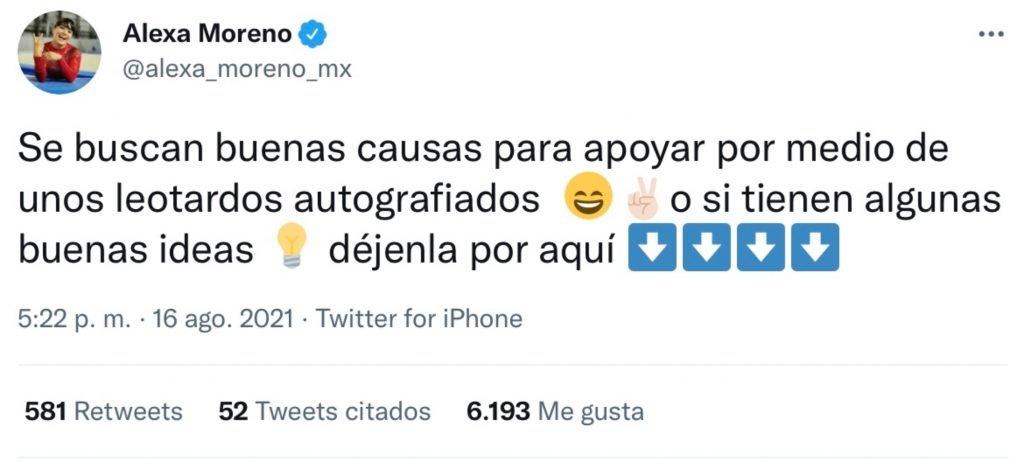 Tweet de Alexa Moreno