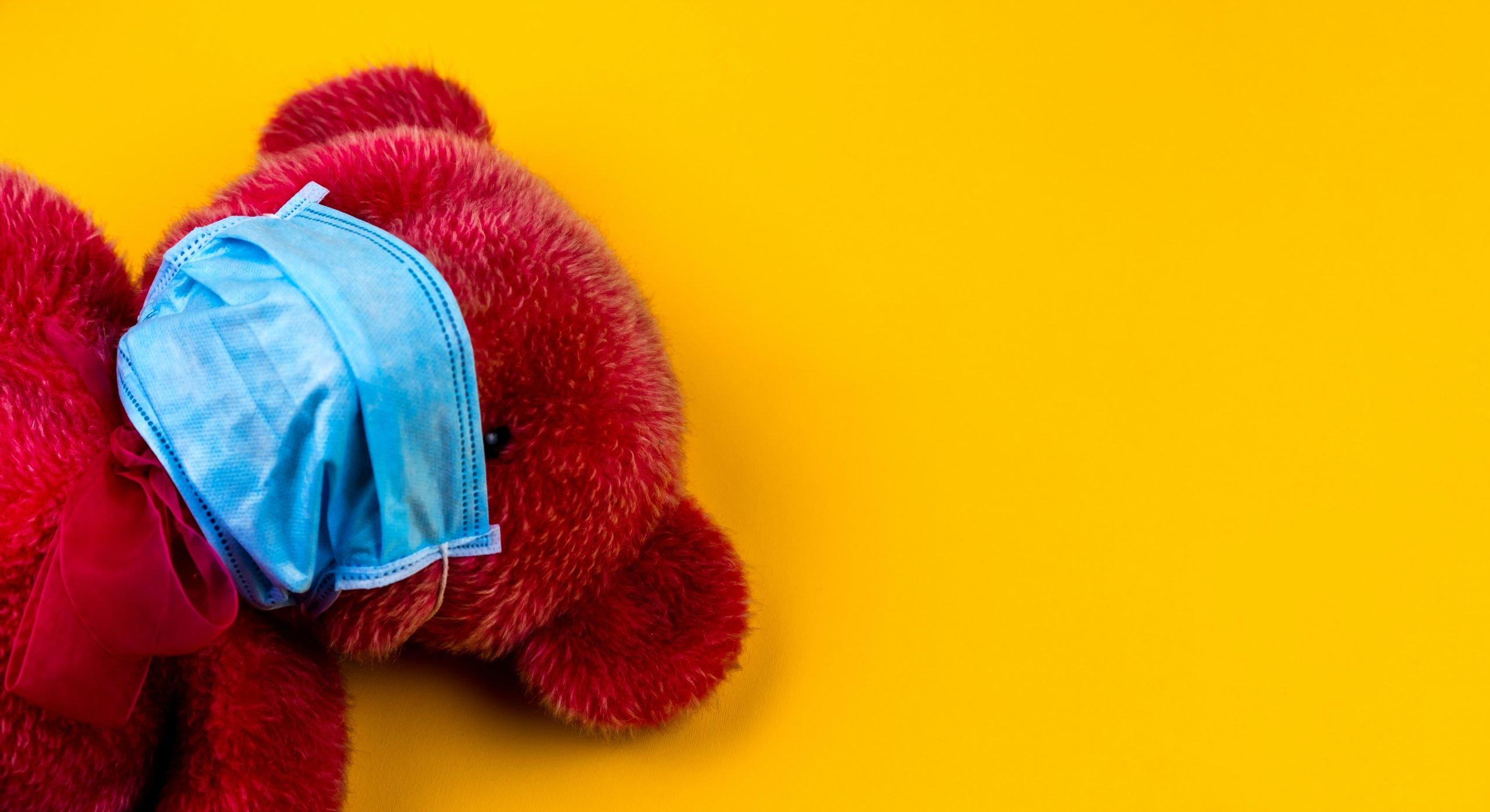 Imagen representativa de oso de peluche con cubrebocas.