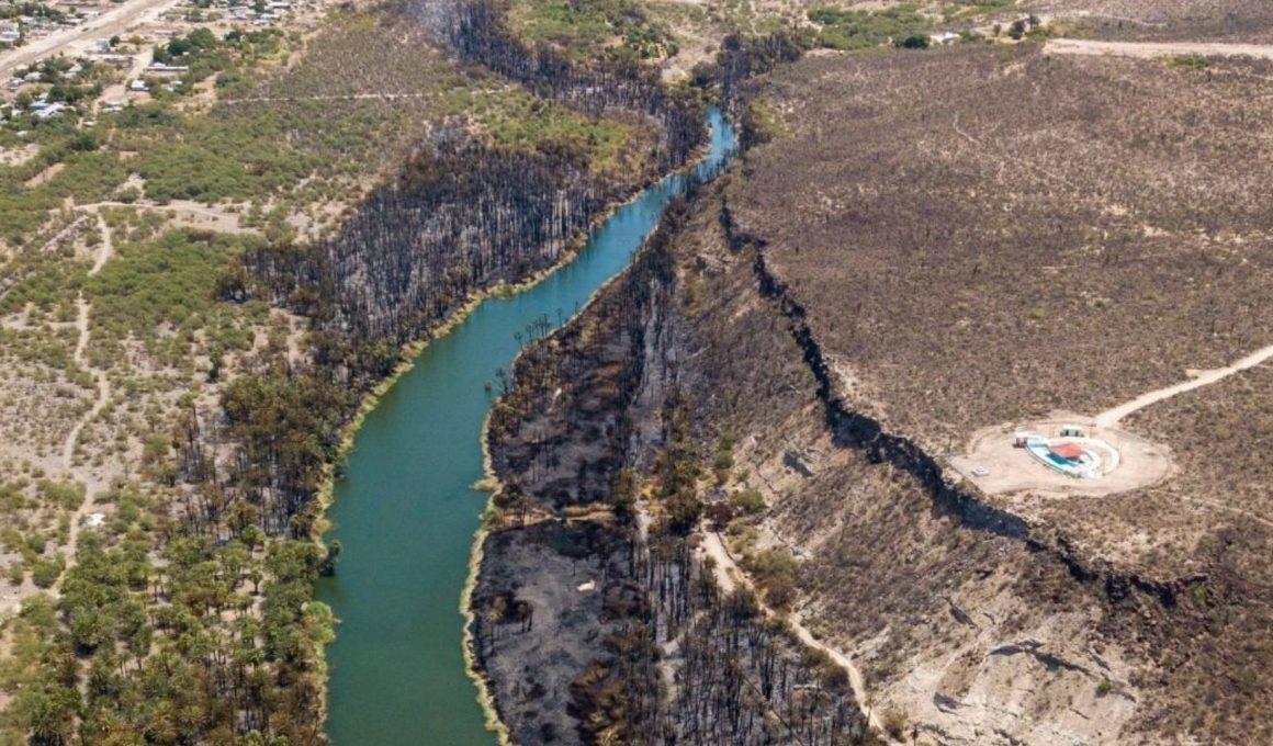 incendio forestal en Baja California sur, toma panorámica