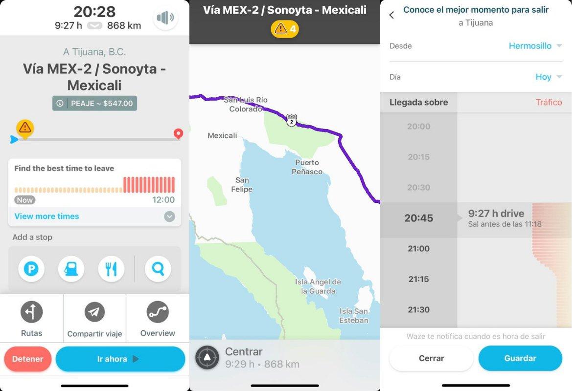 Capturas de pantalla de aplicación Waze.