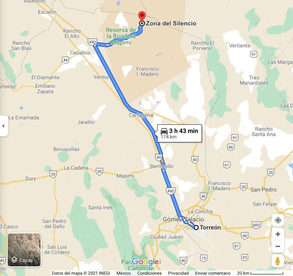 Mapa de Torreón a la Zona del Silencio