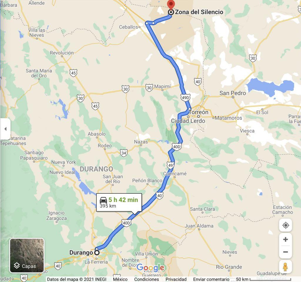 Mapa de Durango a la Zona del Silencio